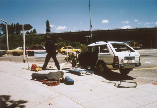 129 Bombed car at scene May 24 1990 - OPD photo copyslide 35mm 2700 C